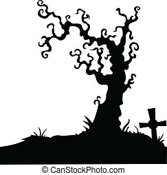 Grave with dead tree on white