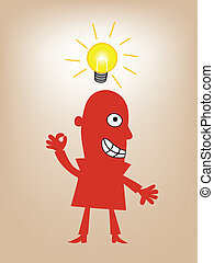 businessman standing with lighting - Vector Illustration of...