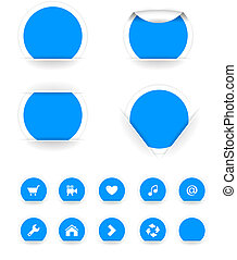 vector stickers - Set of blue vector stickers Vector...