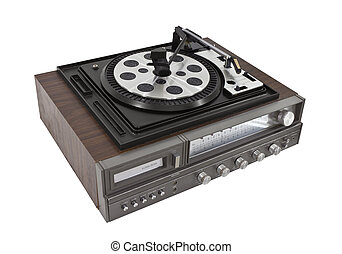 Vintage Record Player and Eight Track Stereo Isolated -...