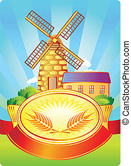 Label with windmill and wheat