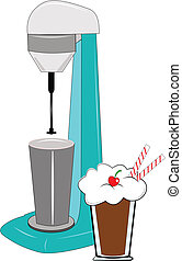 milkshake machine - milkshake maker over white with...