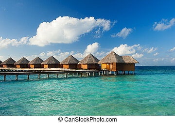 Water villas - Row of water villas in the Maldives