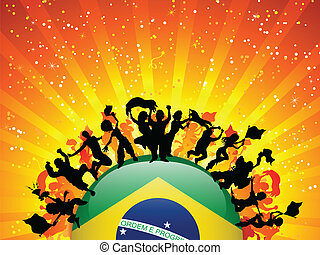 Brazil Sport Fan Crowd with Flag - Vector - Brazil Sport Fan...