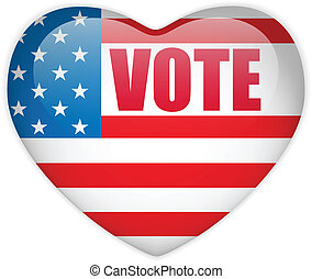 United States Election Vote Heart Button. - Vector - United...
