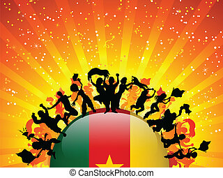 Cameroon Sport Fan Crowd with Flag - Vector - Cameroon Sport...
