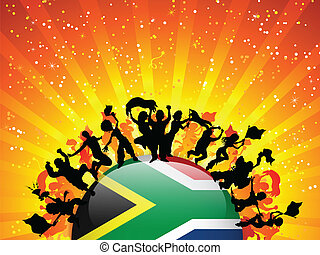 South Africa Sport Fan Crowd with Flag - Vector - South...