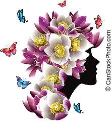 Beautiful woman with flowers and flying butterflys