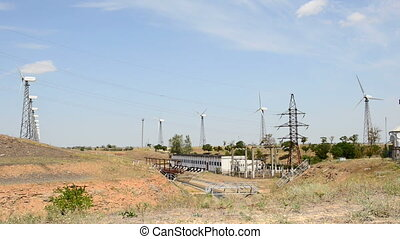 Wind turbines and pumping station