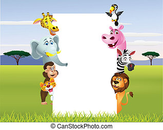 Wild African animal cartoon with bl - Vector illustration of...