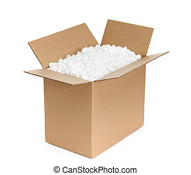 Opened cardboard container is filled with foam plastic...
