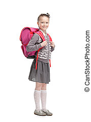 Self-disciplined pupil is ready to go to school, isolated,...