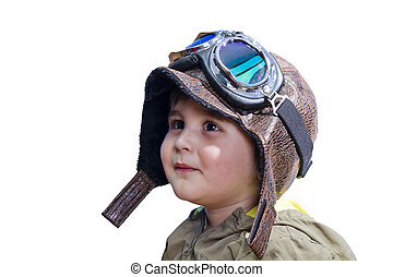 Baby boy dreaming of becoming a pilot with an old style...