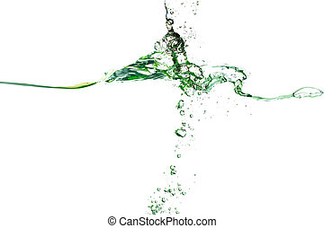 Splash of water of psychedelic green colors on a white...