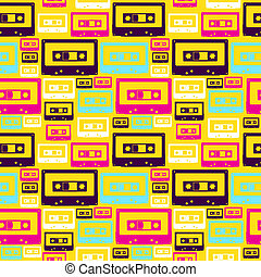 Retro pop audio tapes pattern - Pop audio cassette seamless...