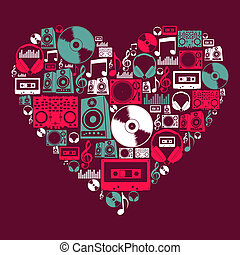 Dj Music icons love heart - Dj music icon set in love heart...