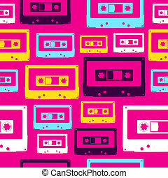 Pop audio cassette pattern - Pop analogue cassettes seamless...