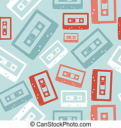 Vintage audio tapes pattern - Vintage analogue audio tapes...