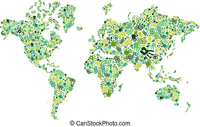 Go green hands World map - Go green human hands icons in...