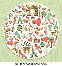 Travel Paris icon set circle