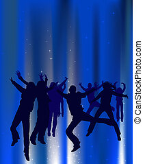 people dancing; silhouette style illustration with fairy...