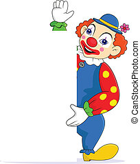 Funny clown with blank sign