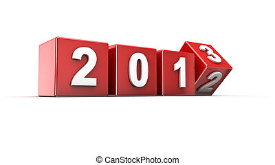New year 2013 - New year 2012 to 2013 concept in 3d