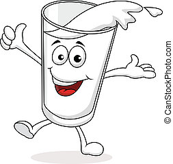 A glass of milk cartoon character - Vector illustration of A...