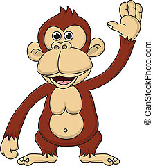 Chimpanzee cartoon waving hand - Vector illustration of...