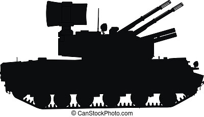 Weapon - Silhouette of tracked self-propelled anti-aircraft...