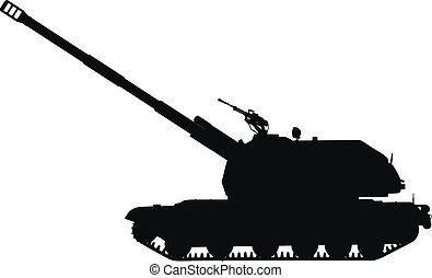 Howitzer - Silhouette of tracked self-propelled howitzer....
