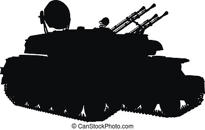 Weapon - Silhouette of anti-aircraft weapon system. Vector...