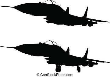 Military aircraft - Vector silhouette of jet fighter...