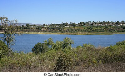 Back Bay Wetland Panorama - Panoramic view of a coastal...