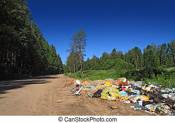 garbage pit on rural road near wood