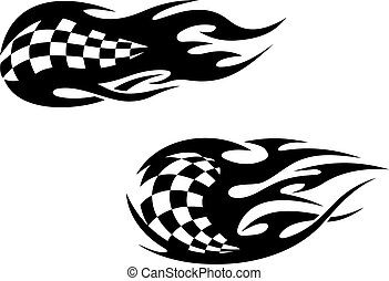 Racing flag tattoos - Racing flag with flames as a racing...