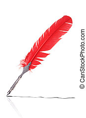 Red and silver quill drawing a line
