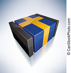 3D flag of Sweden