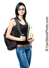 Gorgeous young brunette student woman - Portrait of a...