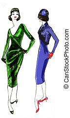 FASHION HISTORY: 1950 MOD - A useful hand-drawn inspirated...