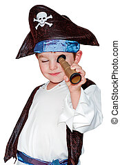 Child in pirate costume for halloween isolated on white