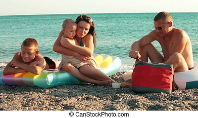 Summer Vacation On The Beach - Family Enjoying Vacation On...