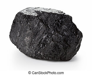Coal Lump - Large coal lump isolated on white background
