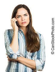 Annoyed woman on the phone