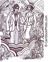 History of Fashion: 70s c - Hand drawn design about 70s...