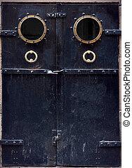 old black metal door - grunge old black metal door with...