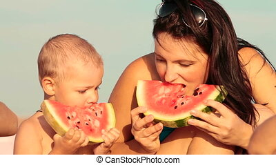 Family Eating Watermelon On The Beach, Sequence