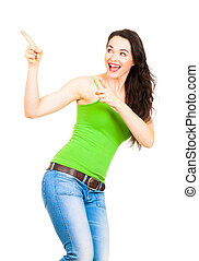 Young beautiful woman pointing to copyspace