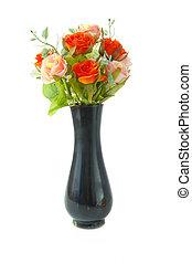 vase flower - black vase flower isolated on white background