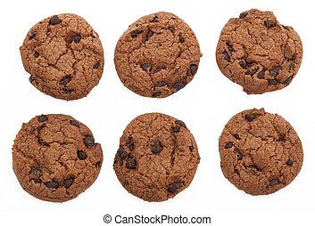 Chocolate Cookies - Chocolate chip cookies, six of them, all...